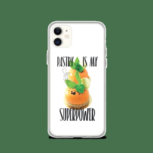 Pastry is my Superpower White iPhone Case with Zanahoria Beta Dessert
