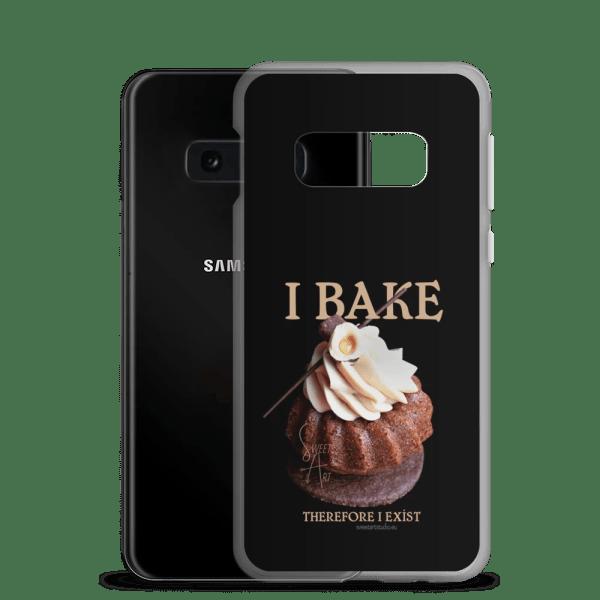 I Bake Therefore I Exist Black Samsung Case with Hazelnut Cupcake