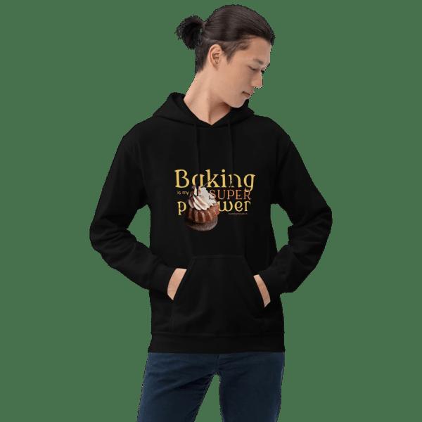 Baking Is My Superpower Unisex Hoodie with Hazelnut Cupcake