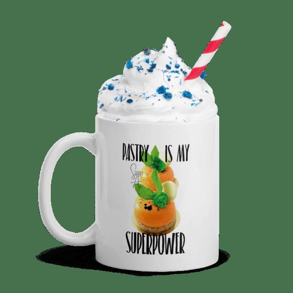 Pastry is my Superpower White Glossy Ceramic Mug with Zanahoria Beta Dessert