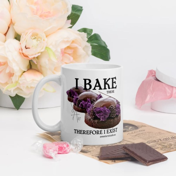 I Bake Therefore I Exist Glossy Pastry Art Ceramic Mug with Le Desir Dessert