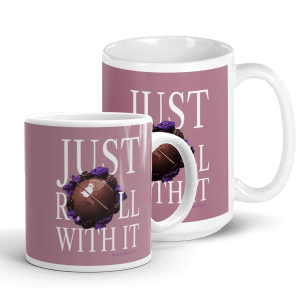 Just Roll with It White and Pink Glossy Pastry Art Ceramic Mug with Le Desir Dessert