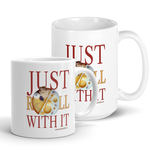 Just Roll with It White Glossy Pastry Art Mug with Mango Orange Tart