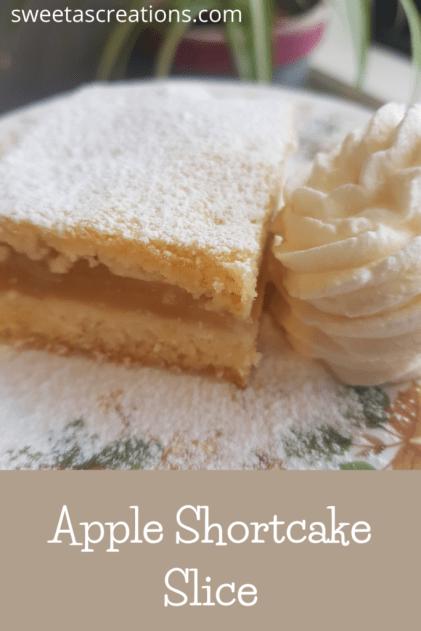 Apple Shortcake slice with cream