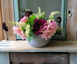 Sweet and simple dahlias and clethra