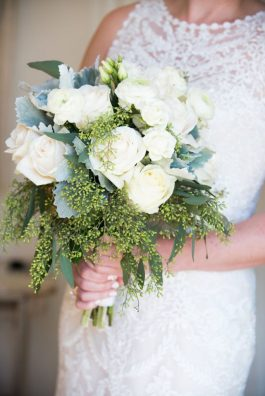 White rose and eucalyptus bouquet