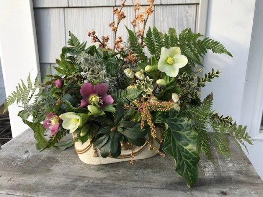 Hellebores and witch hazel in a late winter bouquet