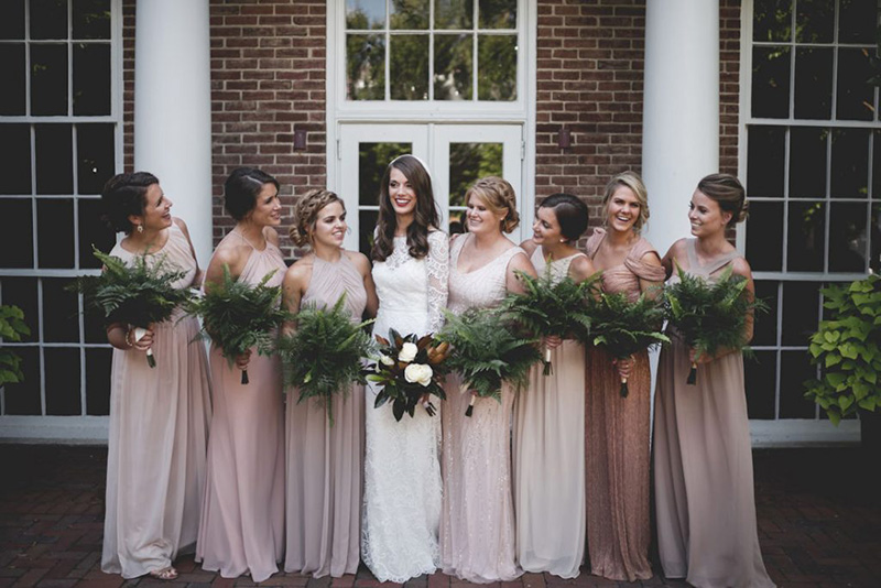 Glamorous Bridesmaids with Magnolia and Fern Fall Inspired Bridal Flowers by Sweetbay Flowers | Eastern Shore Florist|