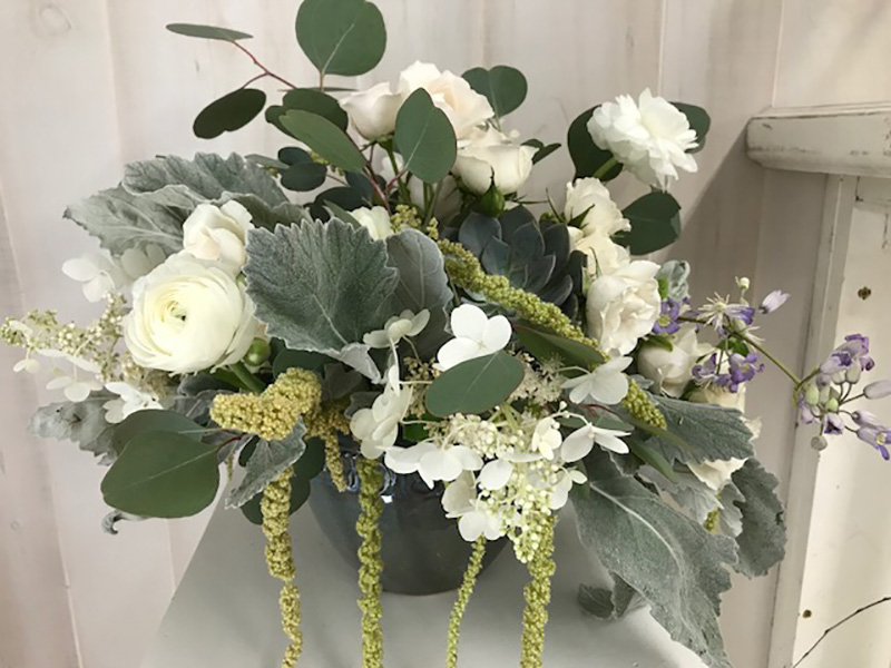 Simple white and Green Floral Arrangement by Sweetbay Flowers | Eastern Shore Florist