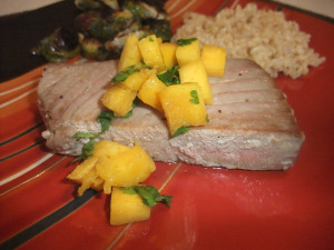 Seared Tuna with Wasabi-Mango Salsa