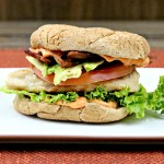 Grilled Chicken Sammich with Creamy Red Pepper Sauce