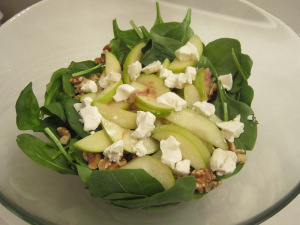 Spinach Apple Salad with Warm Honey Dressing
