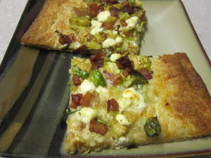 Brussels Sprouts, Bacon, and Goat Cheese Pizza