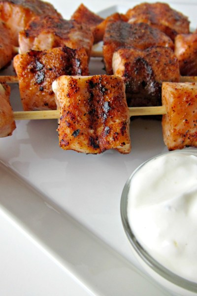 Blackened Salmon Kabobs with Yogurt Sauce