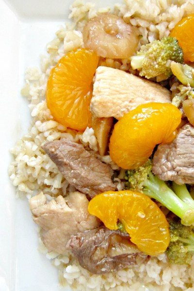 Ginger Beef & Chicken with Mandarin Oranges