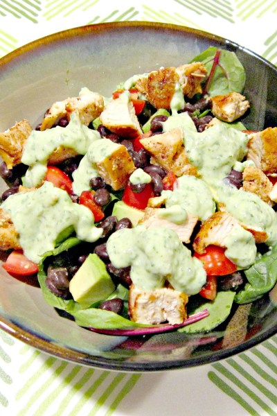 Grilled Chicken Taco Salad with Spicy Cilantro Lime Dressing