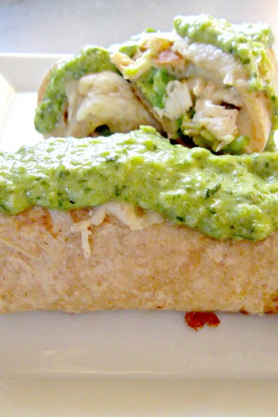 Taco Tuesday: Baked Chicken Burritos with Creamy Roasted Poblano Sauce