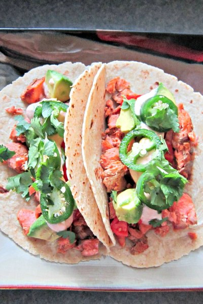 Taco Tuesday: Salmon Tacos with Sriracha Cream Sauce