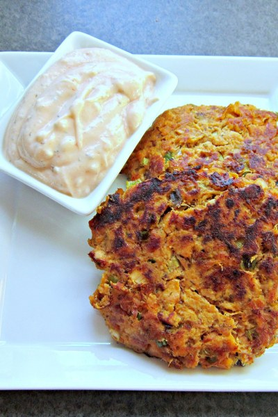 Sweet Potato and Salmon Cakes with Creamy Dill Sriracha Sauce