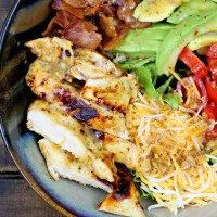 Honey Mustard Chicken, Bacon, and Avocado Salad