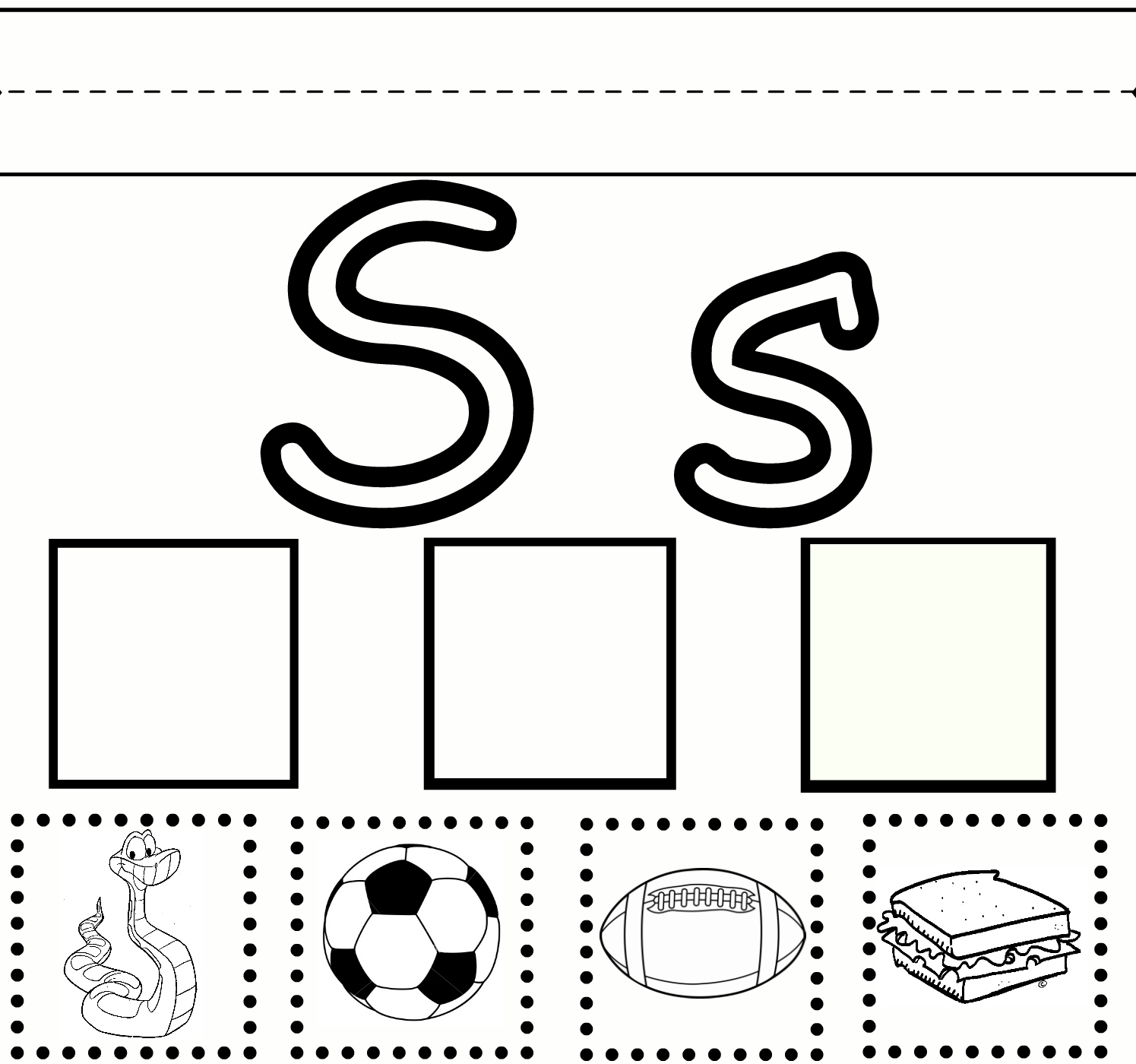 Preschool Learning Letter S Practice Free Printable