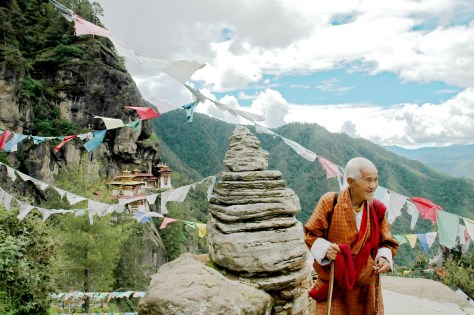 Tiger's Nest, Prayer Flags, Bhutanese Man
