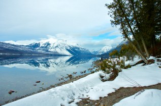 Lake McDonald, Reflections, Snow, Mountains, Rocks