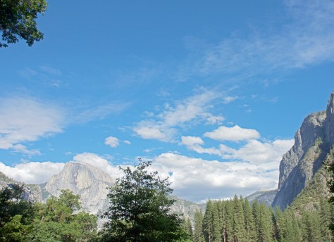 Yosemite, Half Dome, Sky, Clouds