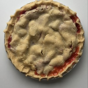 Top-view of a cherry pie