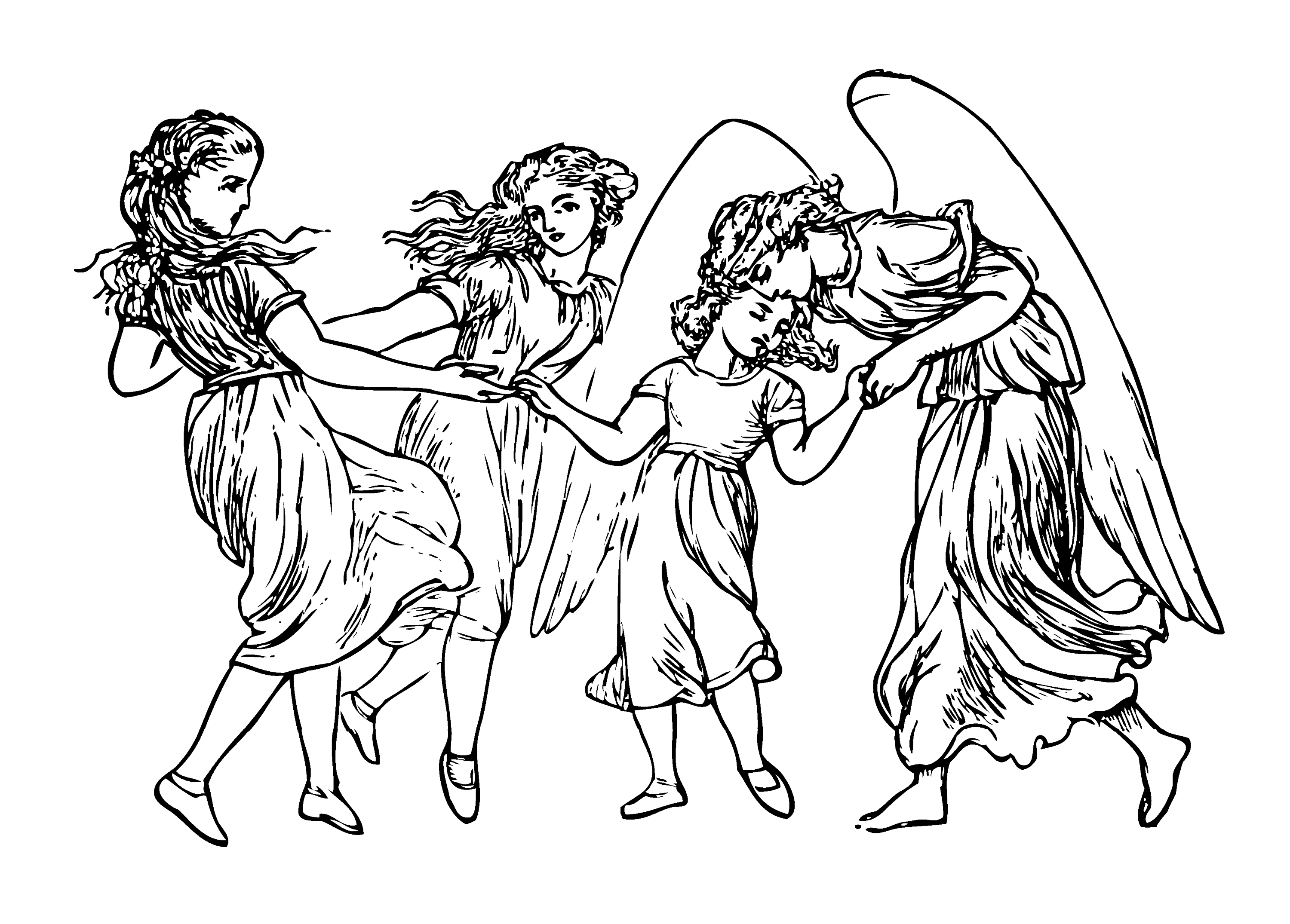 Rossetti Sing Song Girls And Angel Free Clip Art