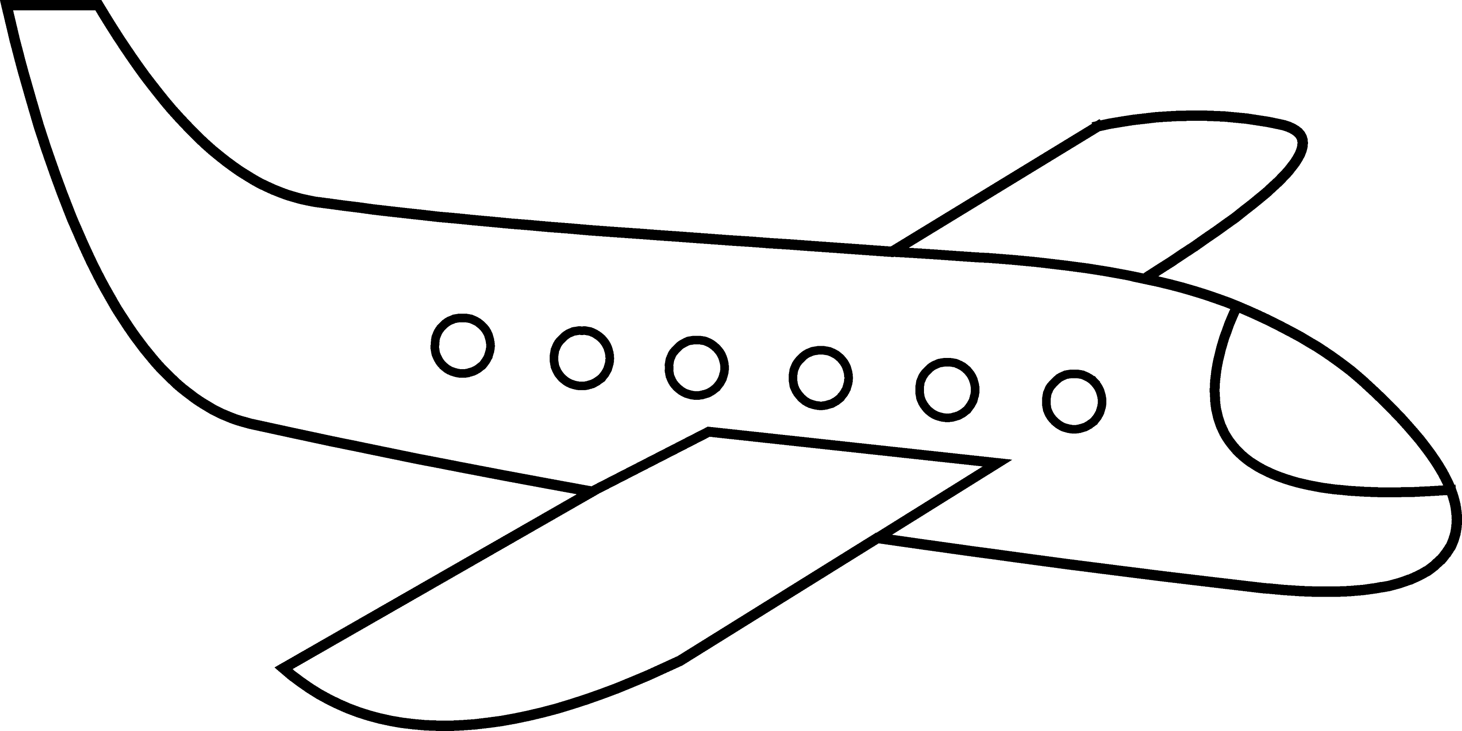 Cute Simple Airplane Line Art