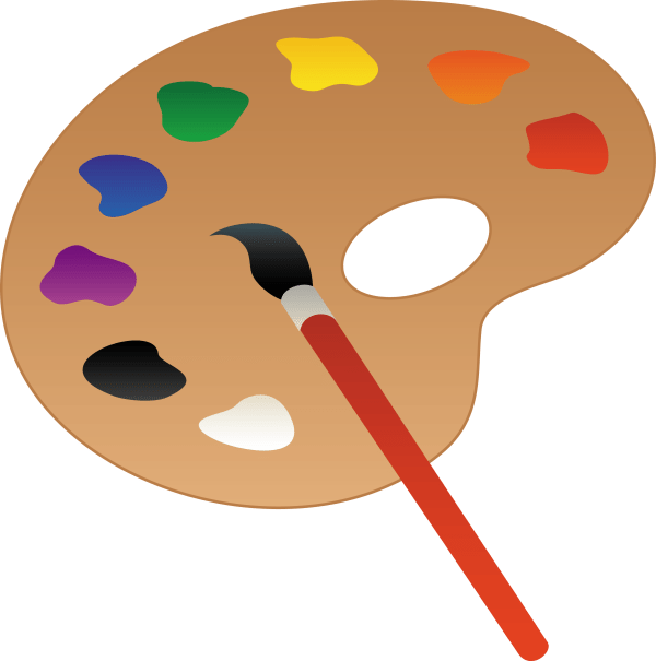 Artists Palette With Paint And Brush - Free Clip Art
