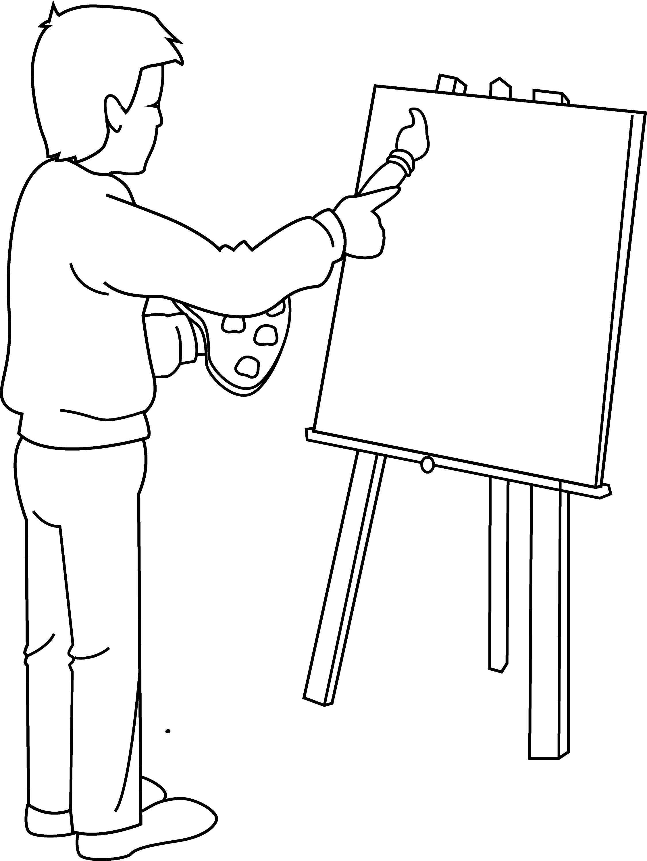 Coloring Page Of Artist Painting
