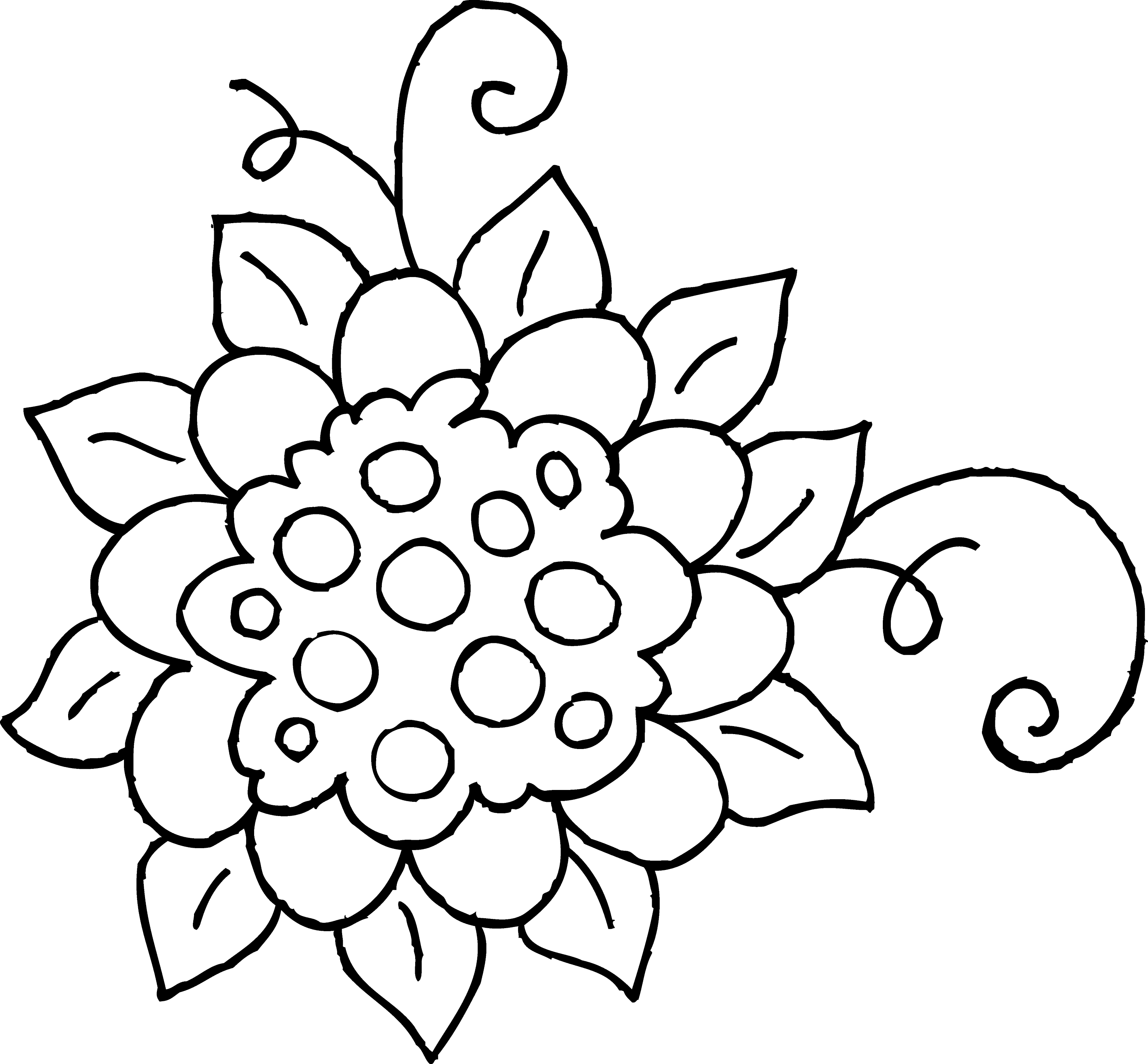 Cute Spring Flower Coloring Page 1