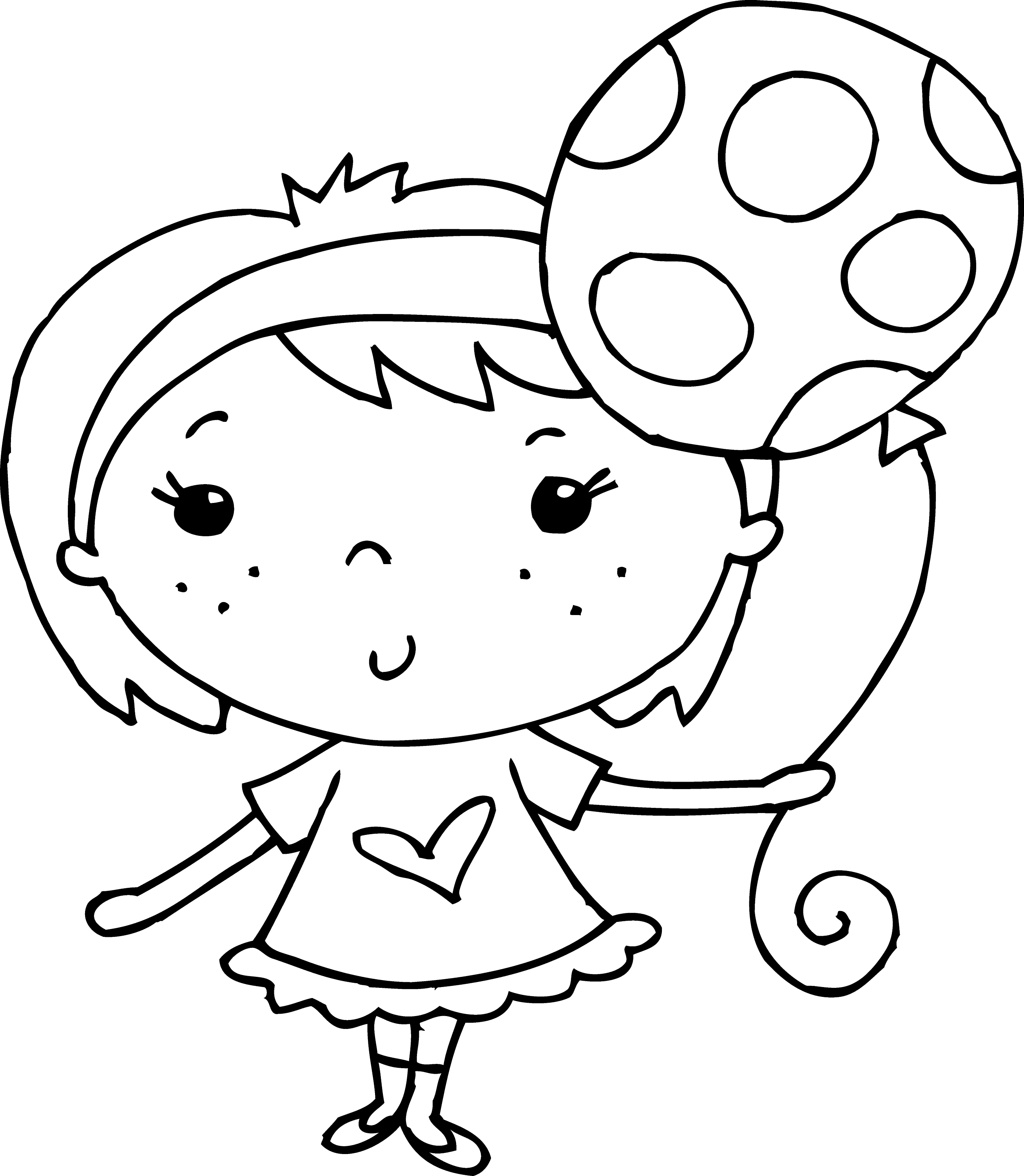 Coloring Page Of Girl With Balloon