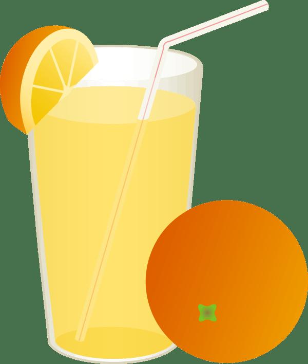 glass of orange juice with straw