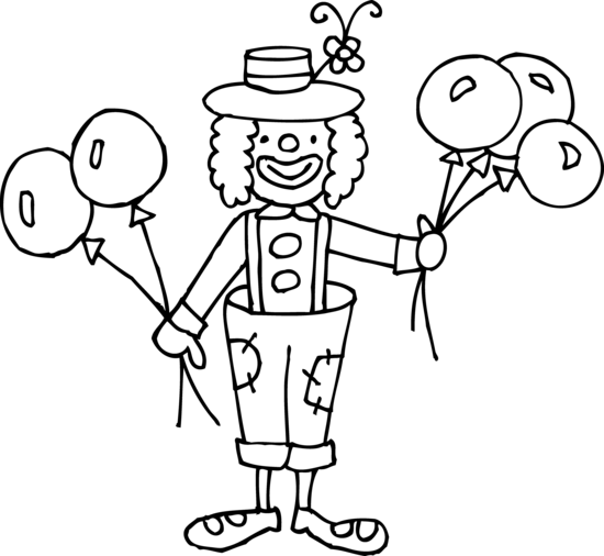 silly clown coloring page - free