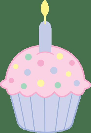 cute pink birthday cupcake - free