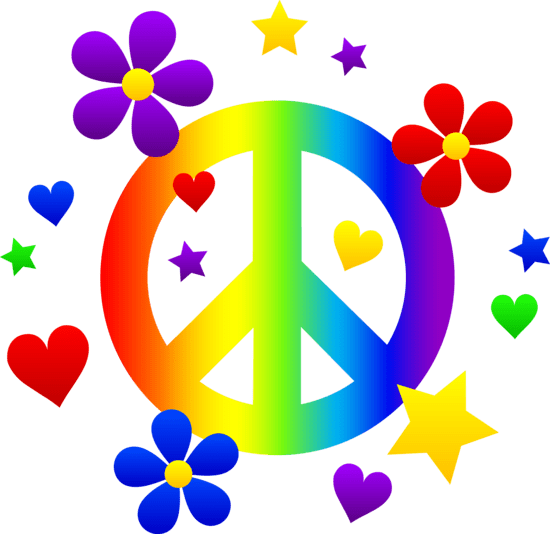 Rainbow Peace Sign With Flowers