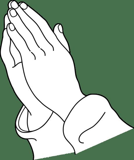 praying hands line art - free clip