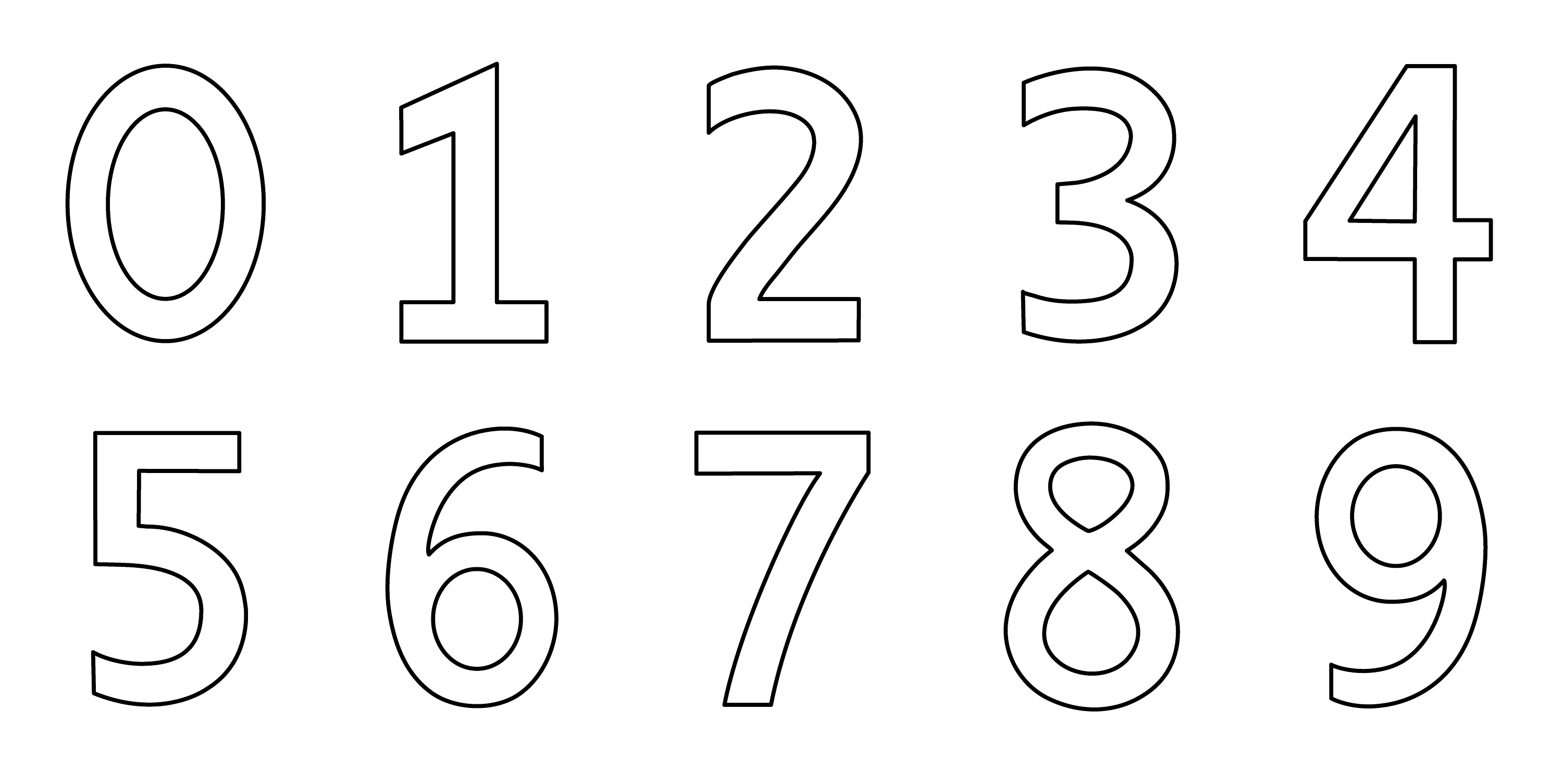 Numbers 0 9 Coloring Page