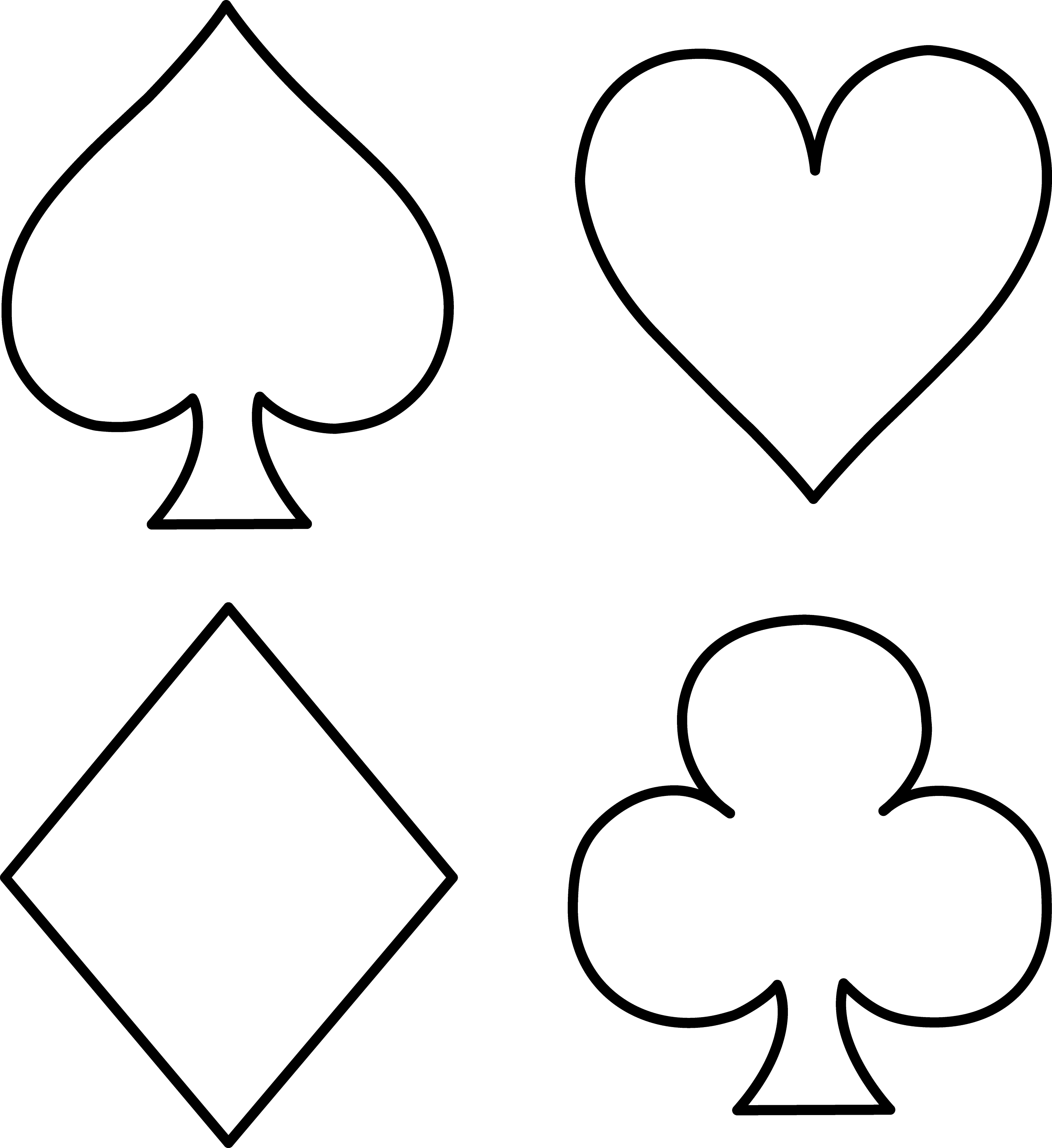 Playing Card Suits Line Art