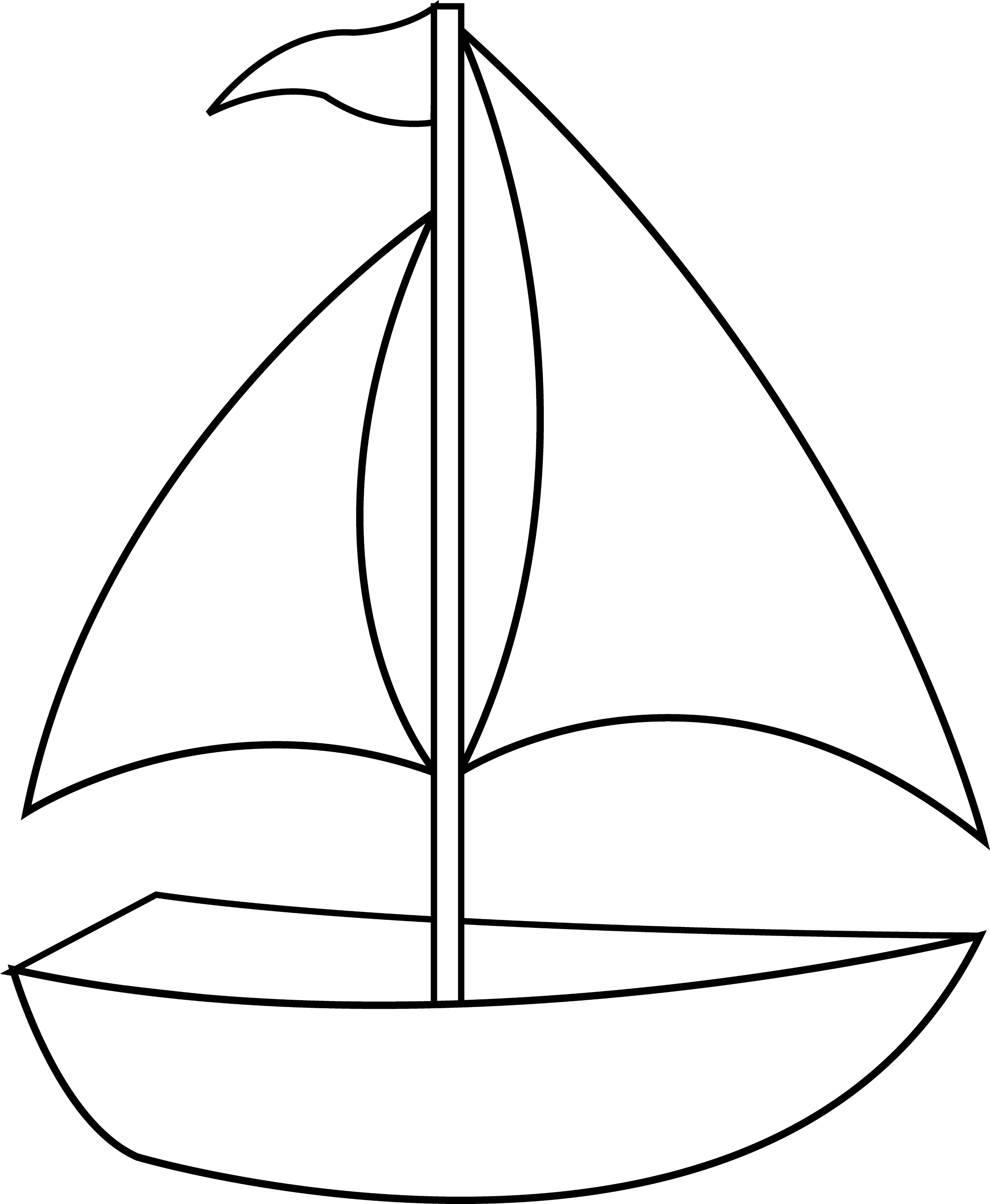 Colorable Sailboat Line Art