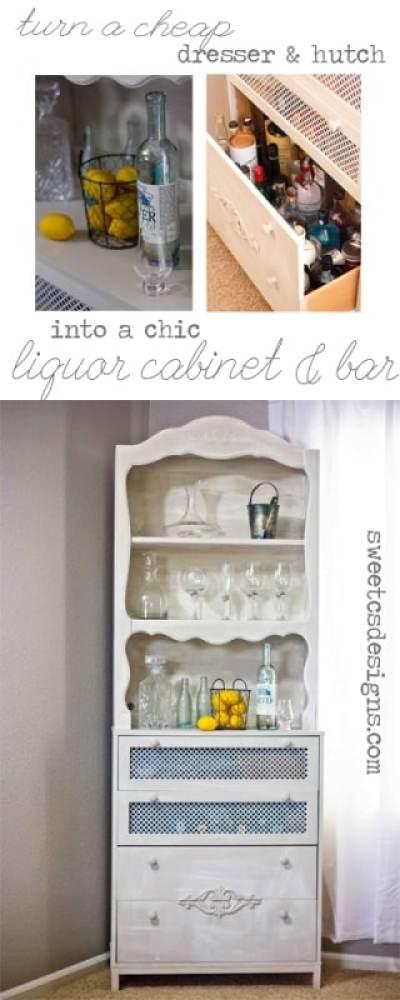 Ugly Old Dresser Amp Hutch Turned Chic Liquor Cabinet Amp Bar