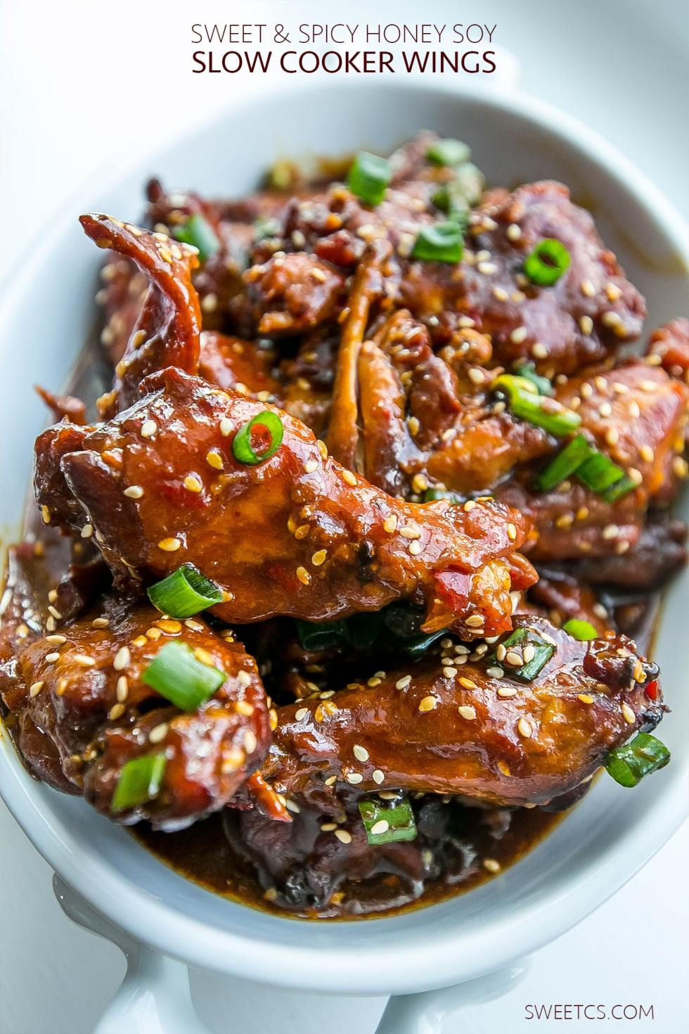 Honey Soy Glazed Chicken Wings {Sweet C's}