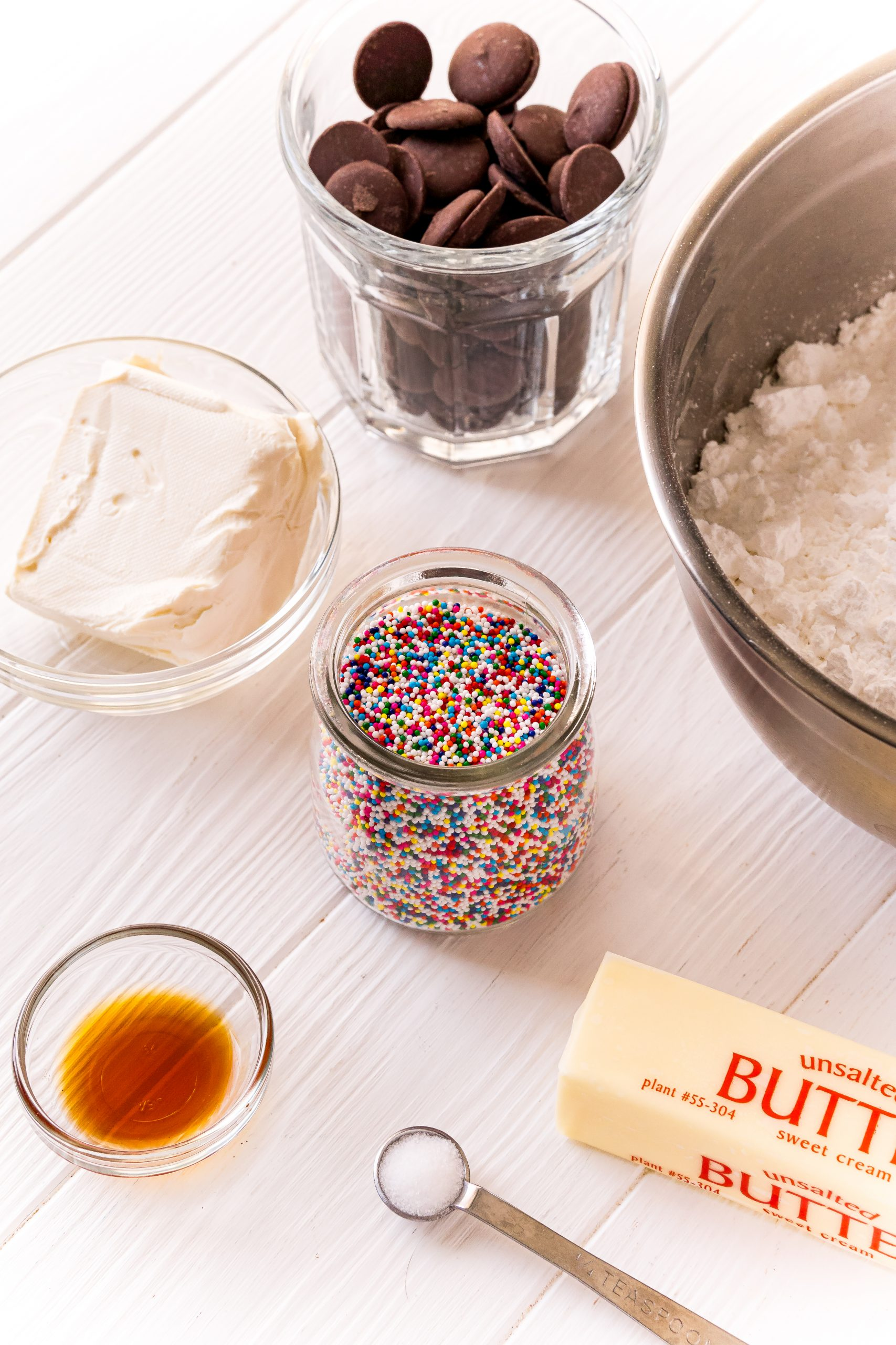 buttercream candy ingredients on a white table