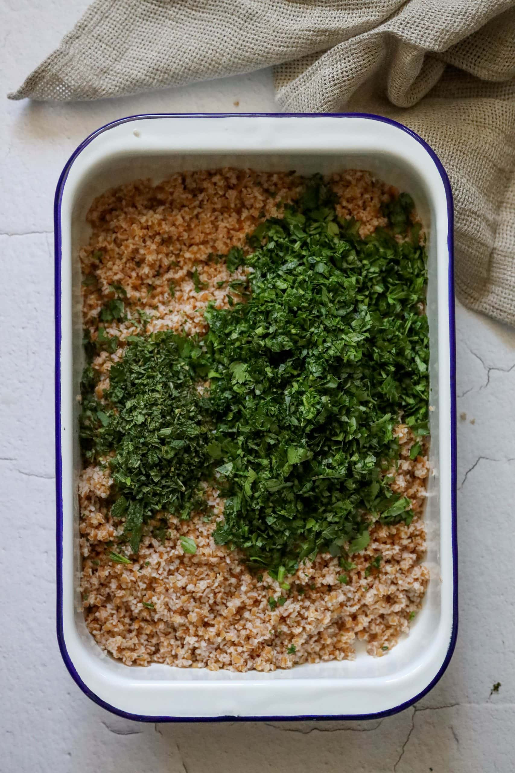 picture of bulgur with finely minced parsley and mint