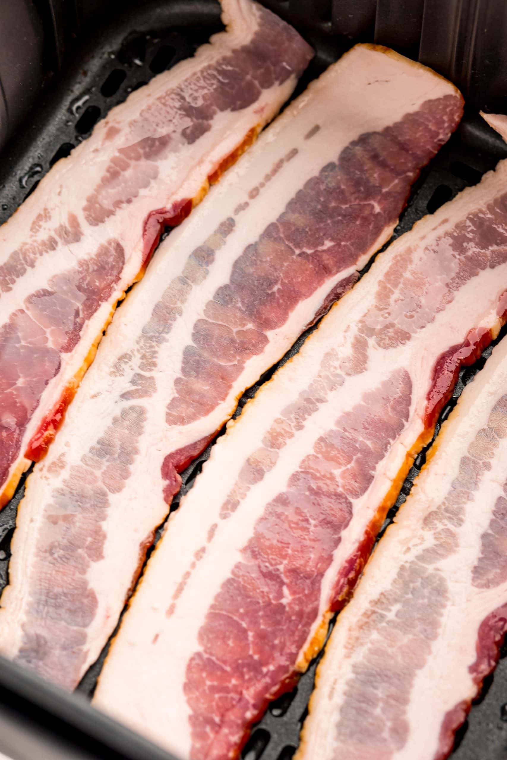 picture of raw bacon strips