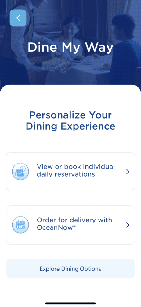 picture of the dine my way dinner reservation system in MedallionClass app