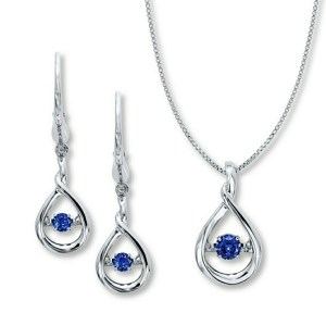 CLEARANCE! 87% OFF! $23.76 (Reg $179.00) Sapphire Sterling Silver Necklace & Earrings Box Set